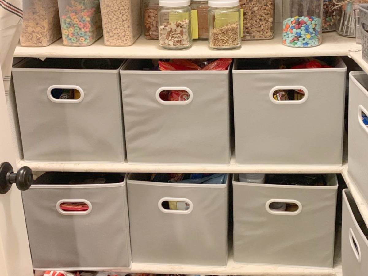 storage bins in pantry