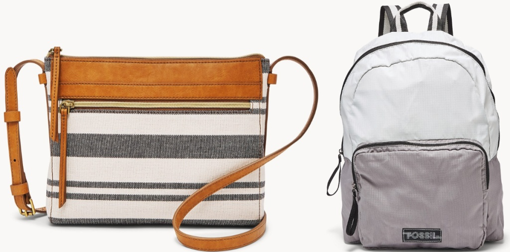 striped bag and gray fossil backpack