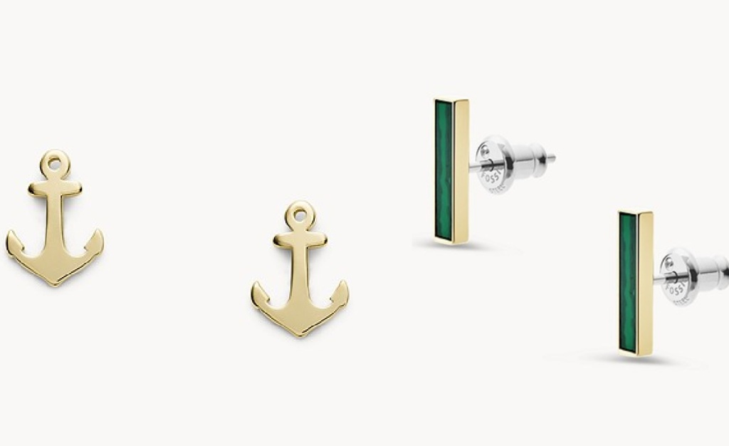anchor and emerald earings