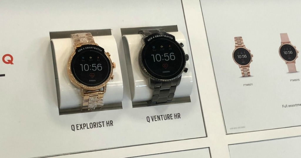 fossil smart watches displayed in case