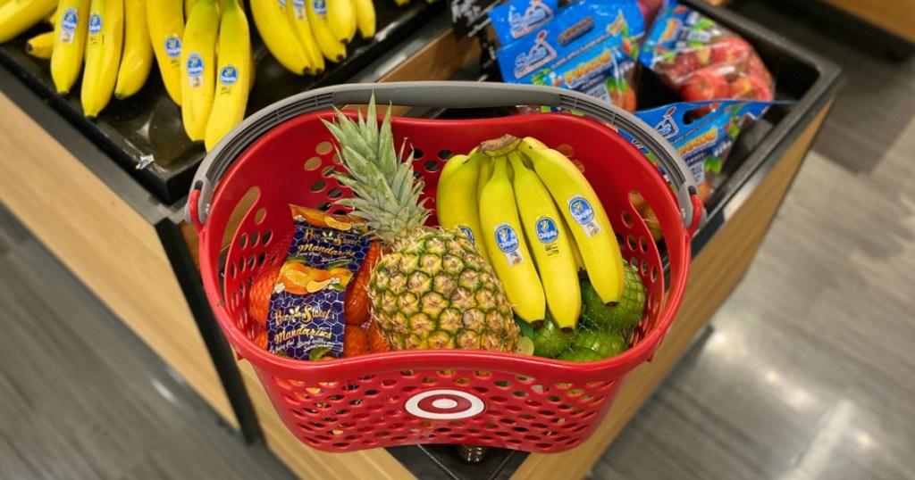 Target basket with fresh produce inside