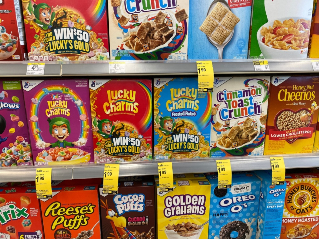 assorted cereals on store shelves
