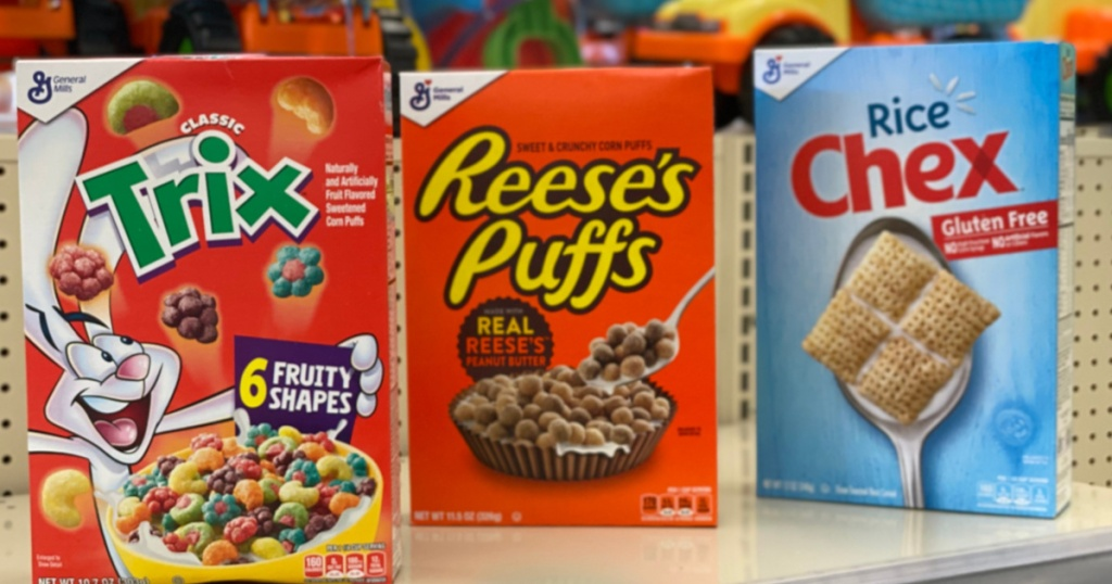 general mills cereals on store counter