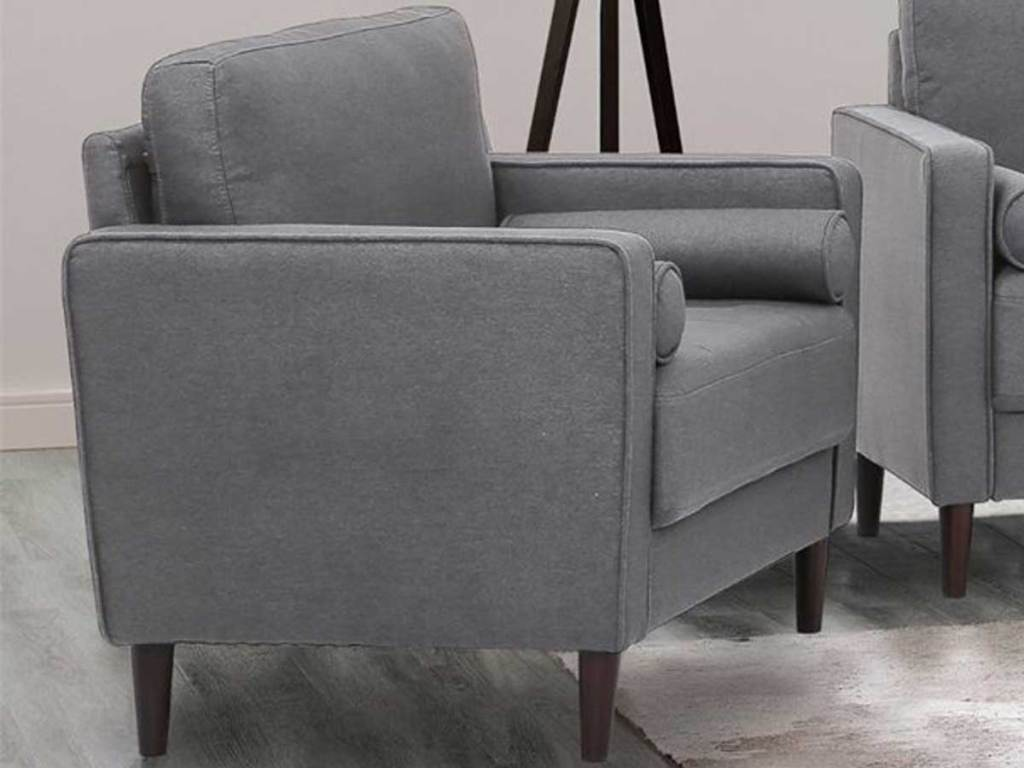 heather gray chair in living room