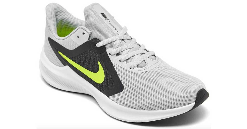 nike gray and yellow running shoes