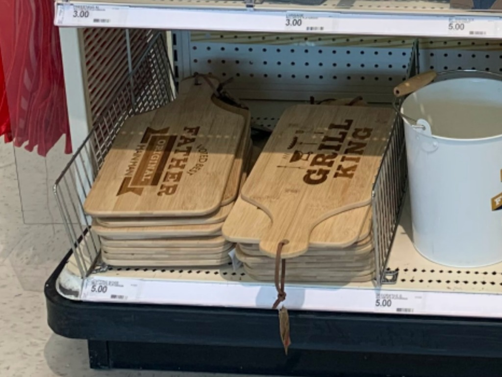 store display with cutting boards