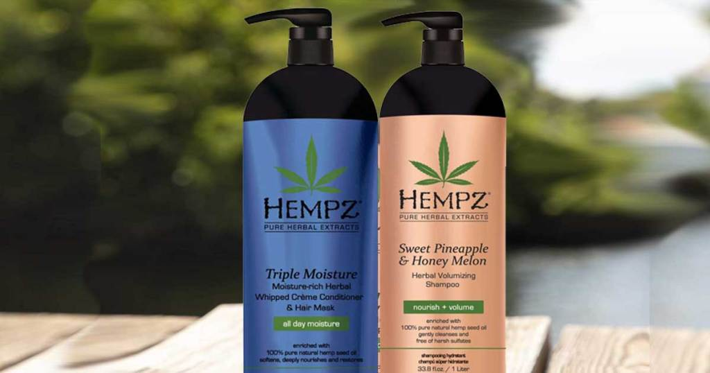 hempz shampoo in gold and blue