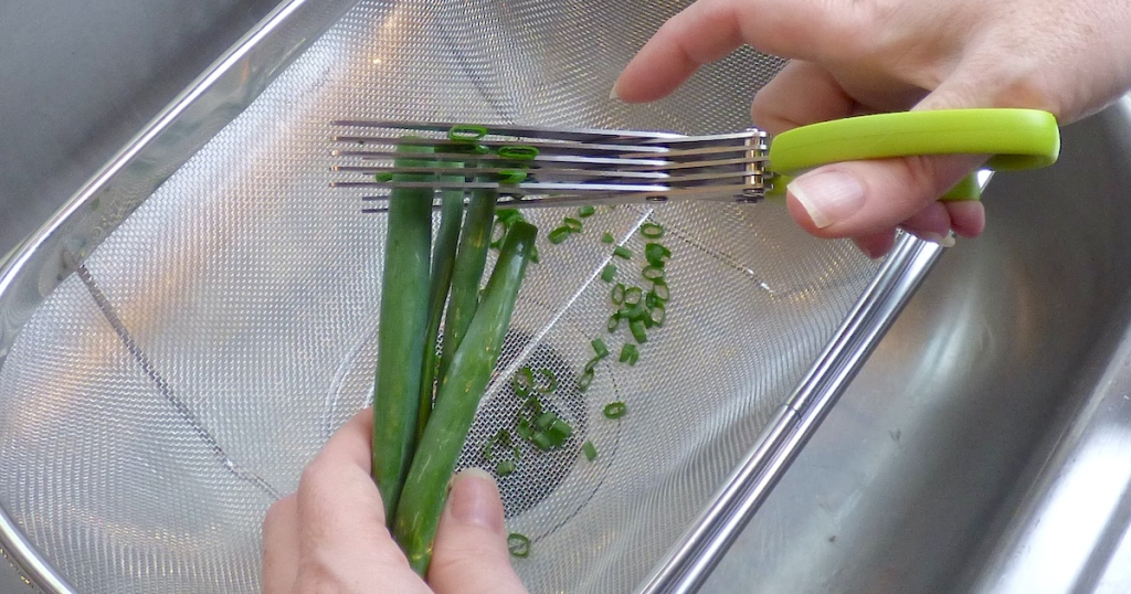 hand holding a pair of multi blade scissors cutting scallions