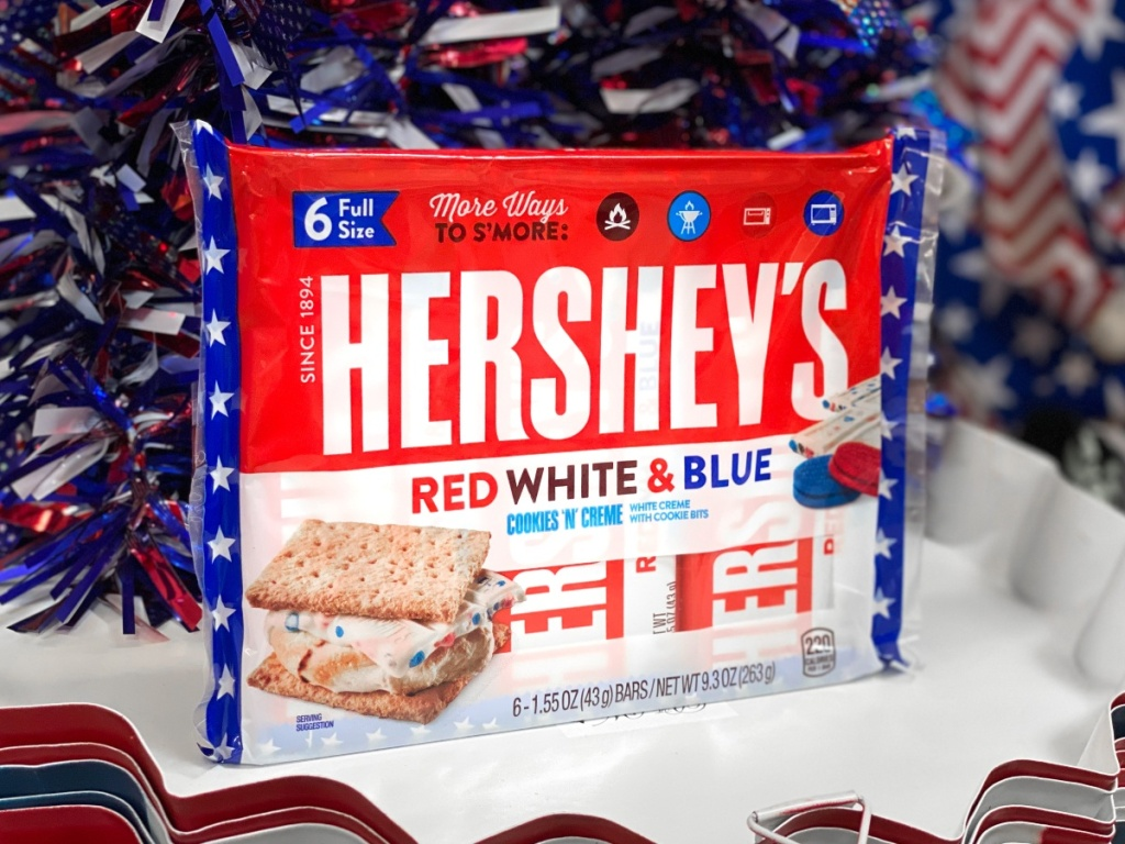 Hershey's red white and blue Cookies N Creme bars