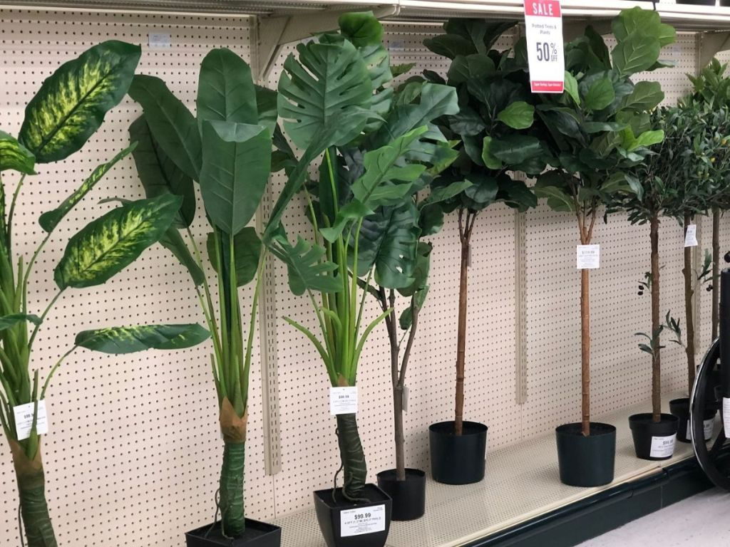 tall fake potted plants in store