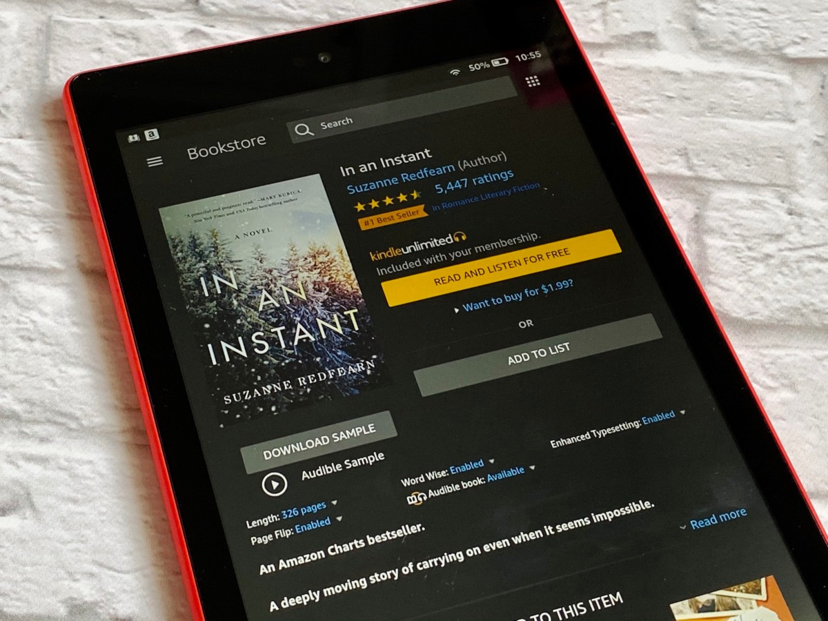 Kindle montrant l'écran d'achat pour In An Instant