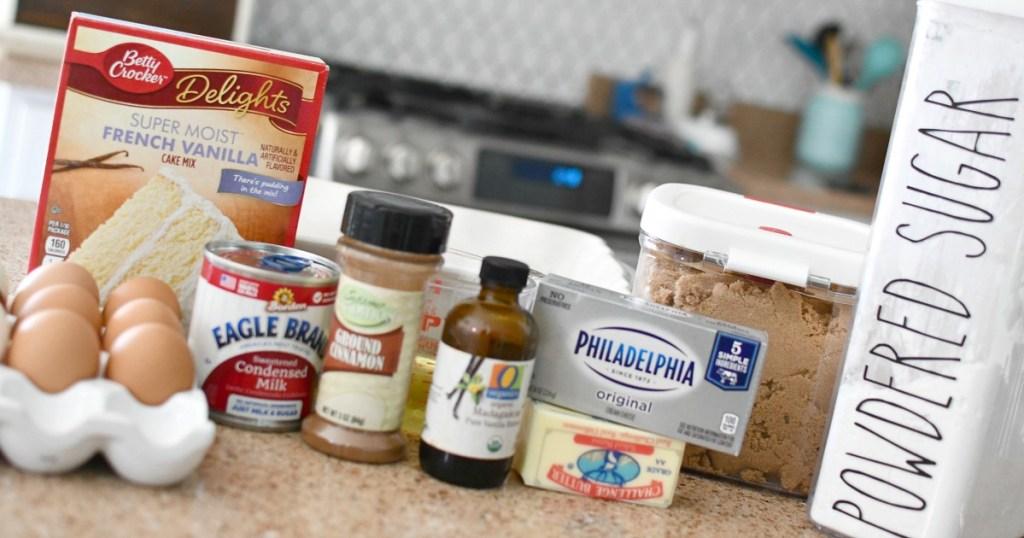 ingredients for cinnamon roll poke cake