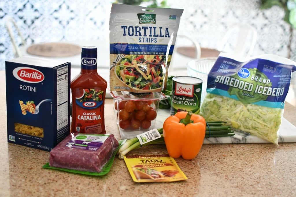 ingredients for taco pasta salad