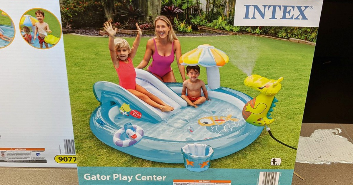 inflatable kids water center and pool in box at store