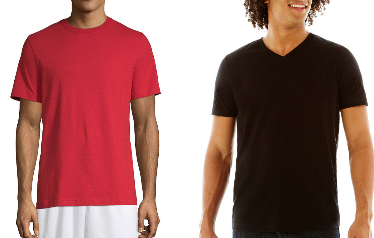 men wearing red and black tees