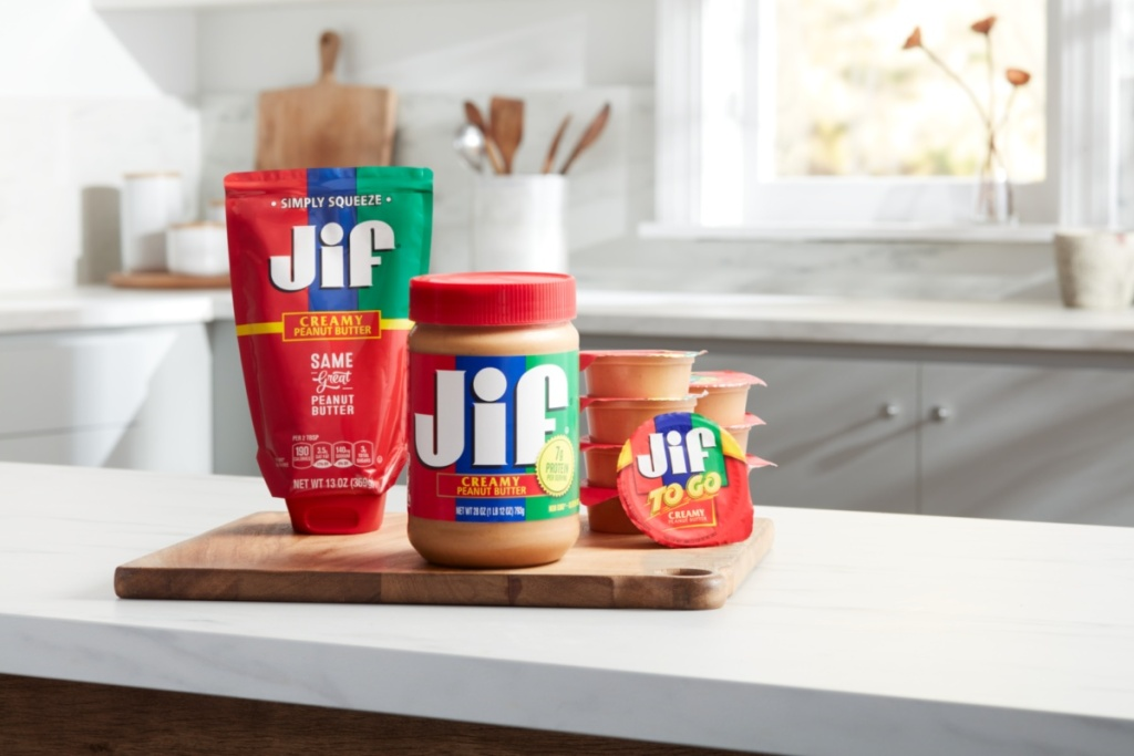 lineup of Jif peanut butter products