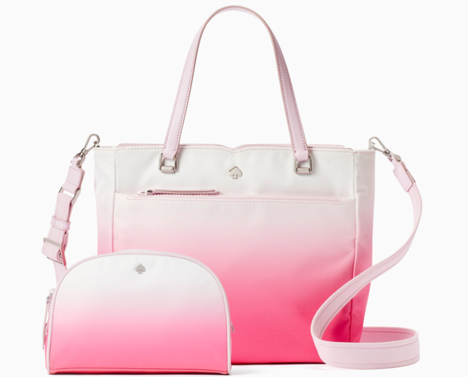 pink and white matching kate spade bag and cosmetic