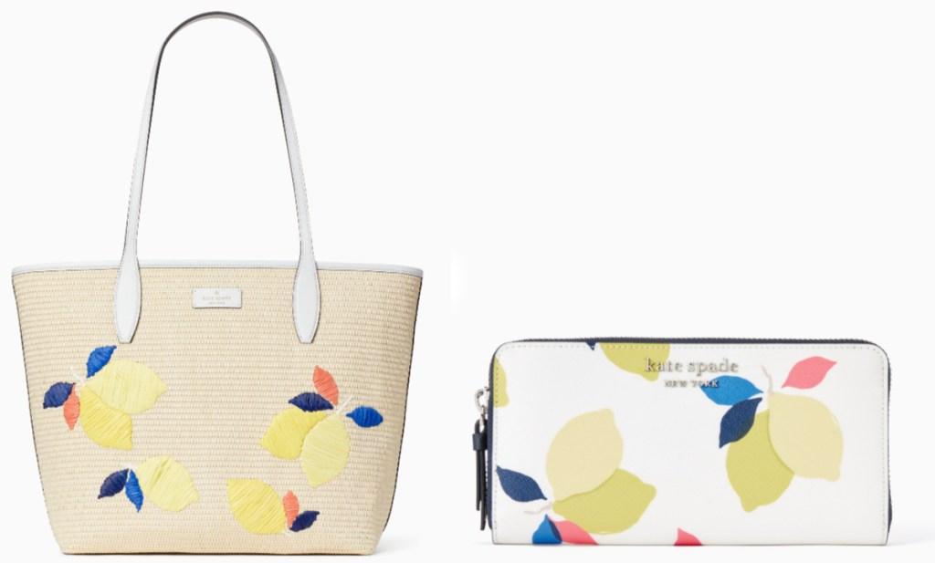 lemon straw handbag and wallet
