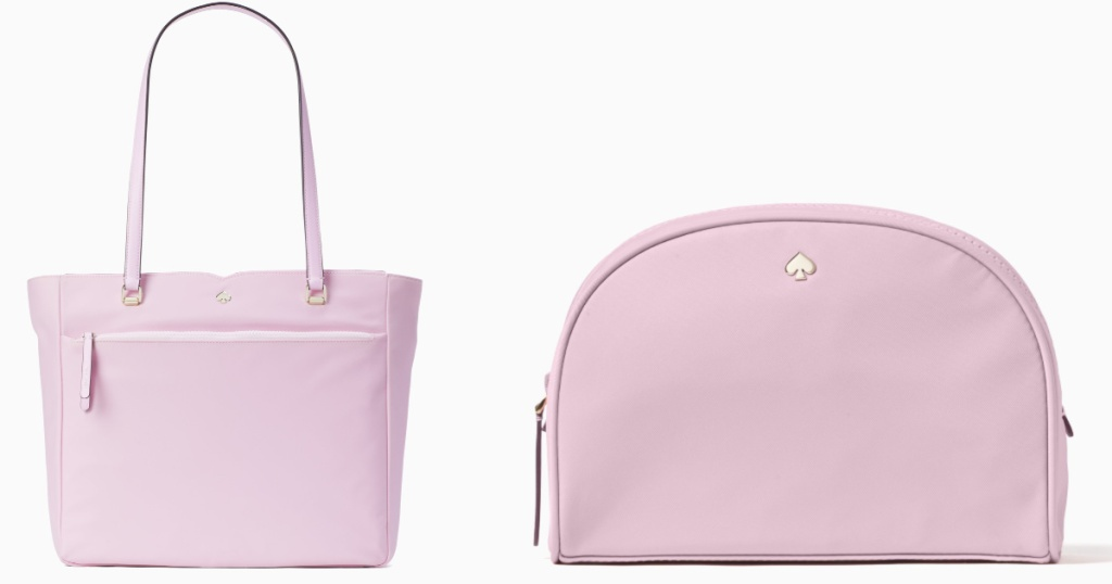 pink tote bag and cosmetic bag with kate spade logo