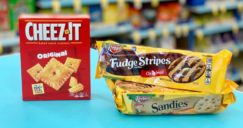 keebler cookiess and cheez-it crackers on counter