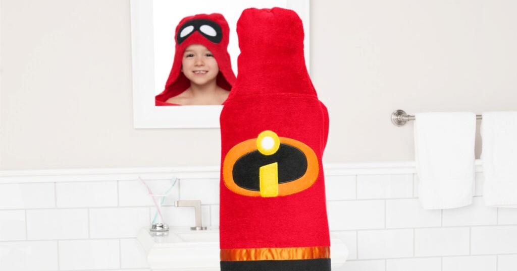 kid with The Incredibles Hooded towel on