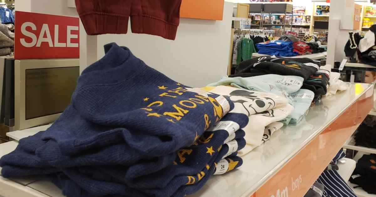 boys clothing on display in store