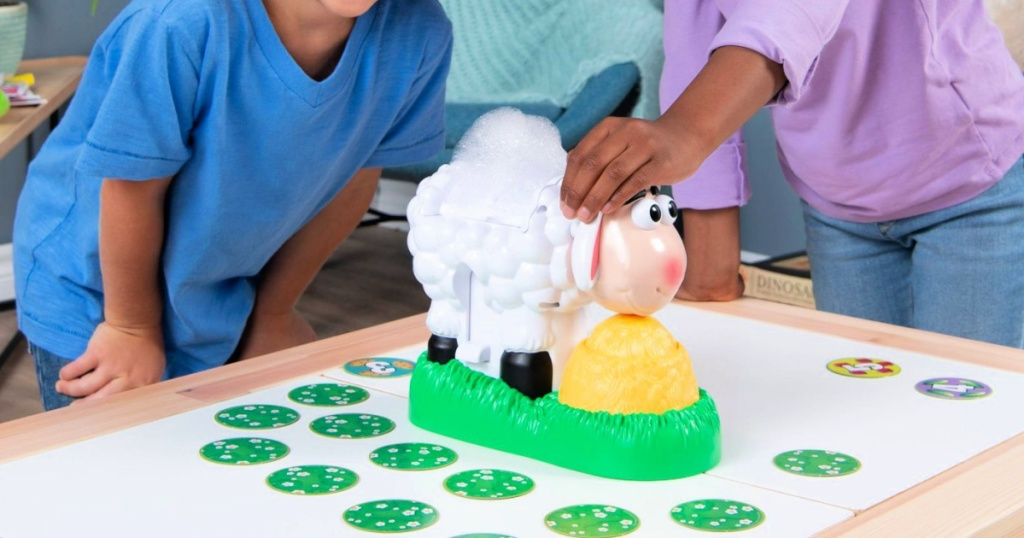 kids playing Baa Baa Bubbles Bubble-Blasting Game with Interactive Sneezing Sheep