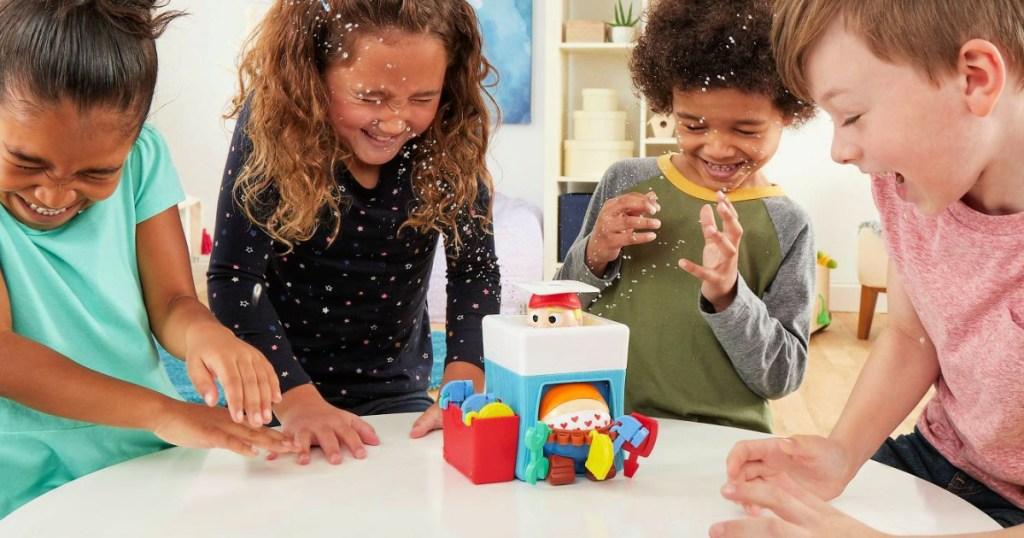 kids playing Plumber Pants Board Game