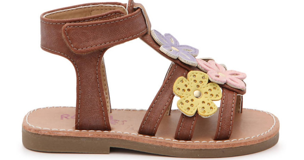 brown kids sandals with flowers