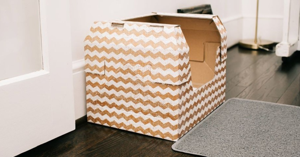 kitty poo box with chevron design on wood floor