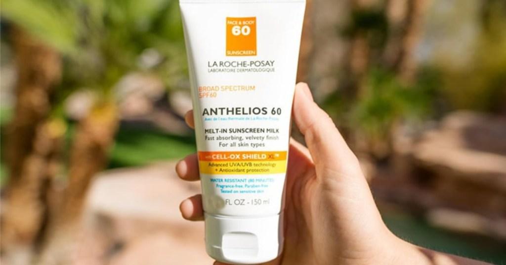 la roche posay sunscreen sample in hand