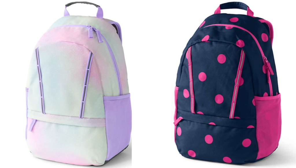 sparkle backpack and polka dot bag