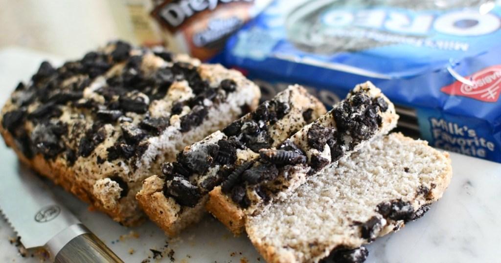 loaf of oreo ice cream bread
