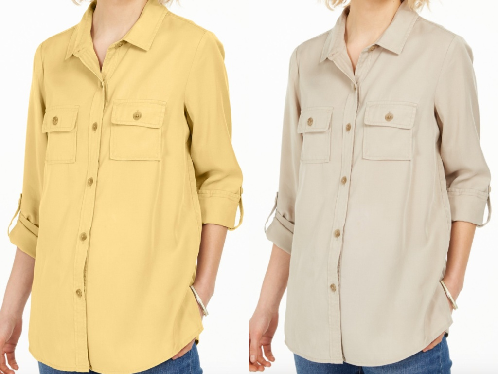 2 women standing next to each other wearing button down shirts
