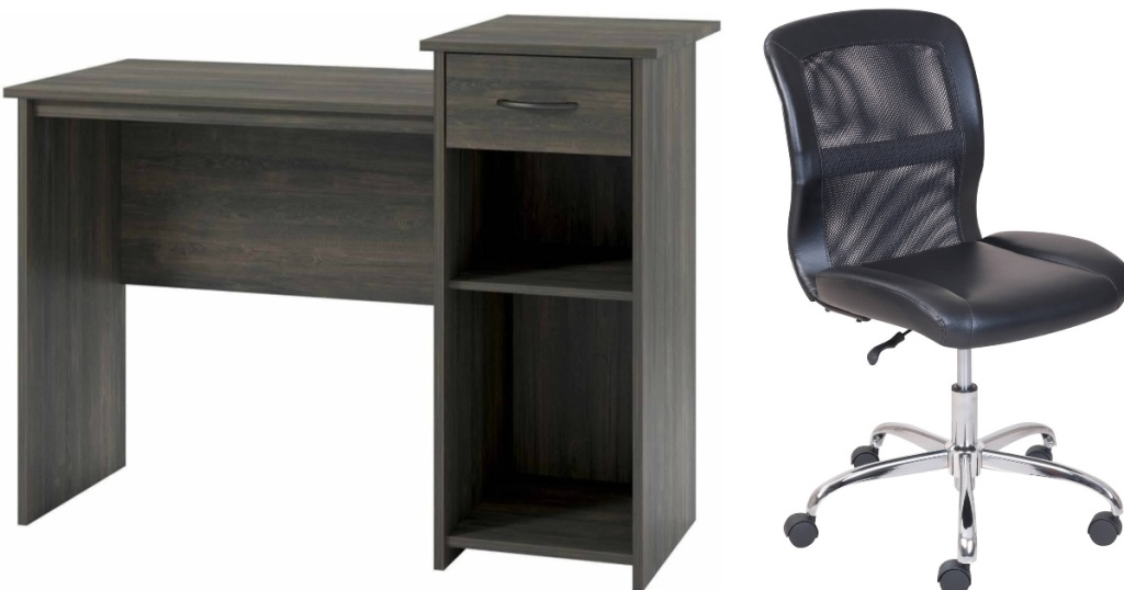 gray desk and black mesh back chair