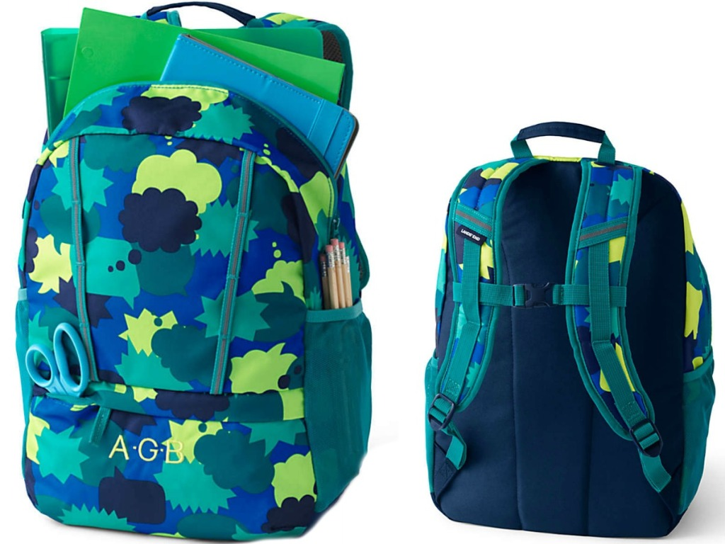 front and back of a blue/green backpack