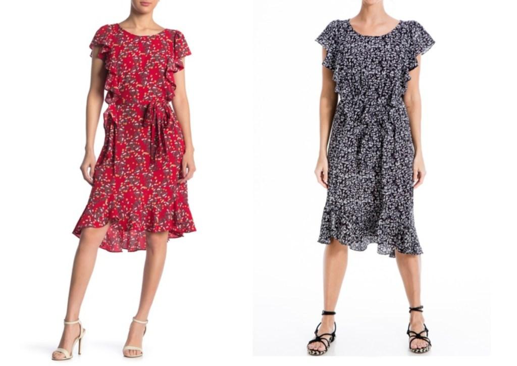 multi ruffles dress