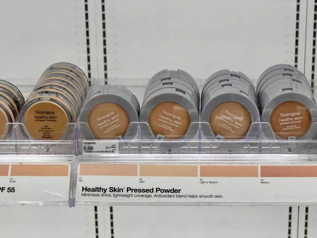 display of pressed powder in a store