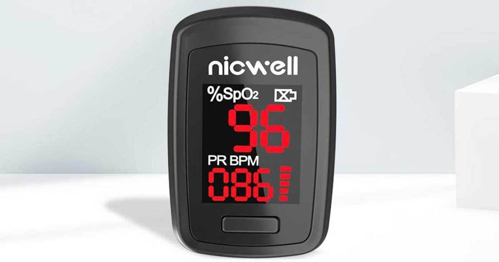 blood oxygen monitor black stock image