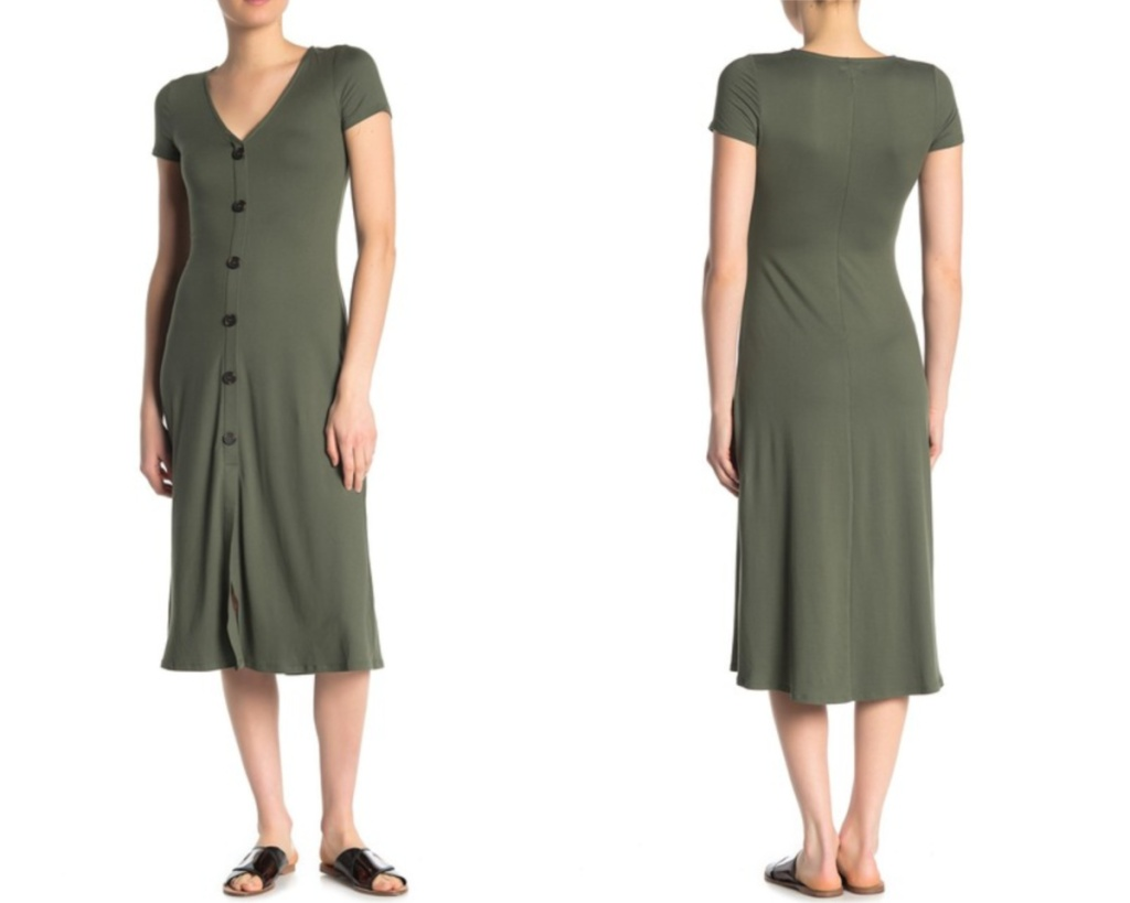 love fire olive dress with buttons