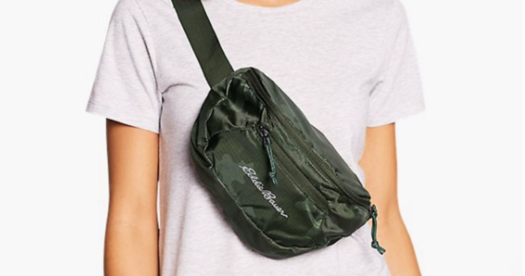 person with Eddie Bauer Stowaway Packable Waistpack