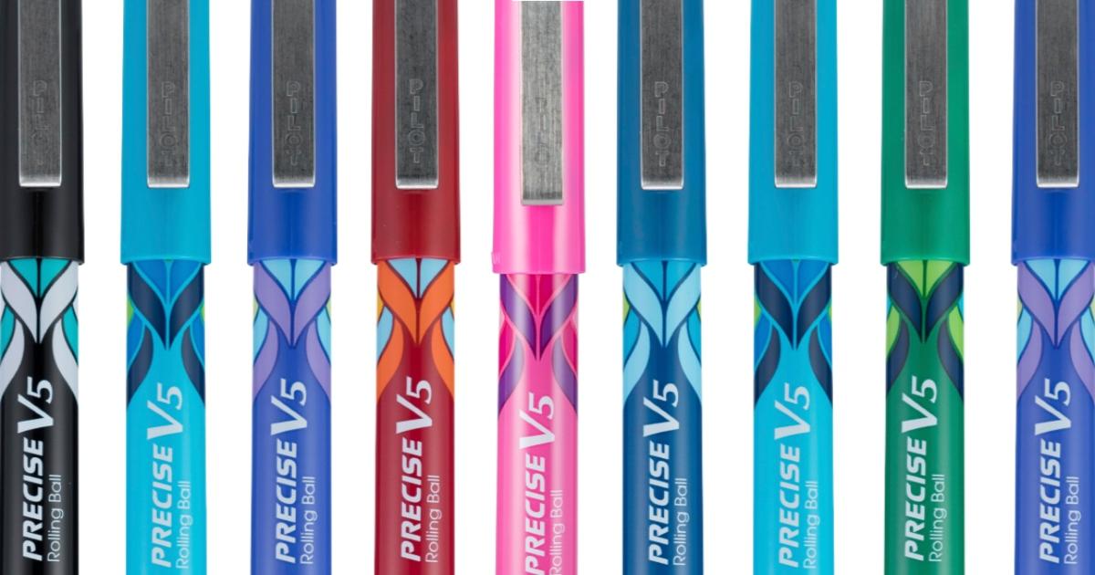 nine pilot pens, each a different color