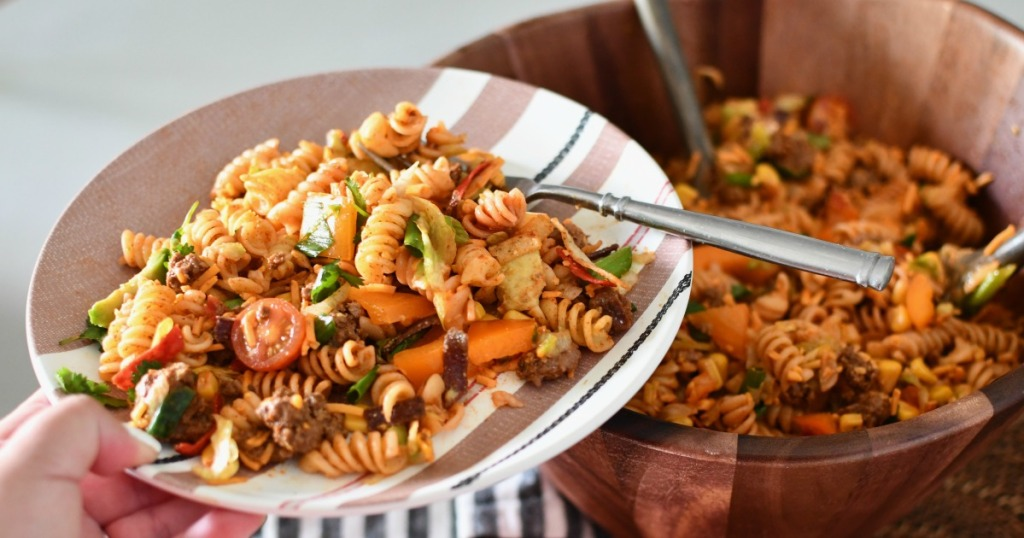 plate and fork of taco pasta salad