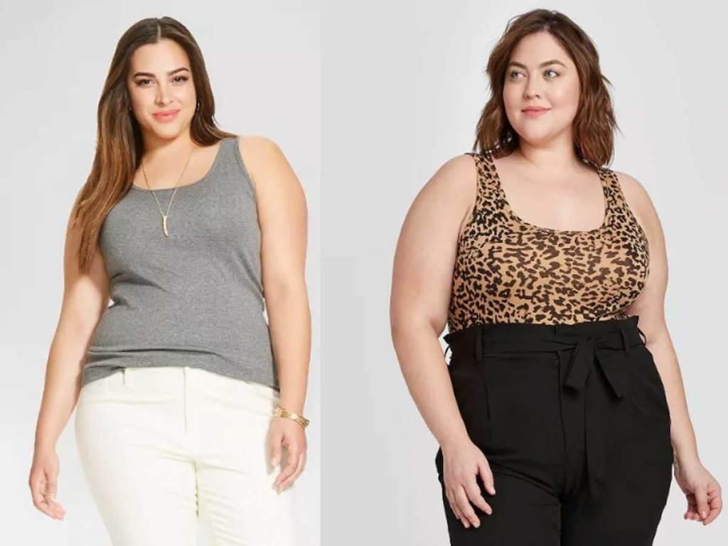 models wearing women's plus size tanks