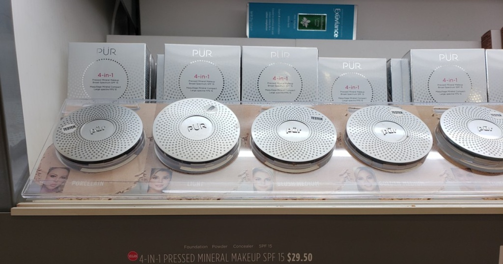 PUR pressed powder on display in store