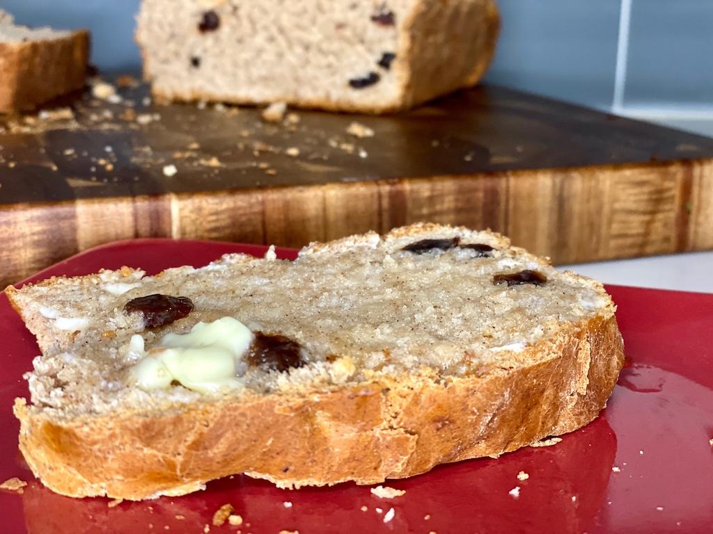 cinnamon raisin bread slice with butter