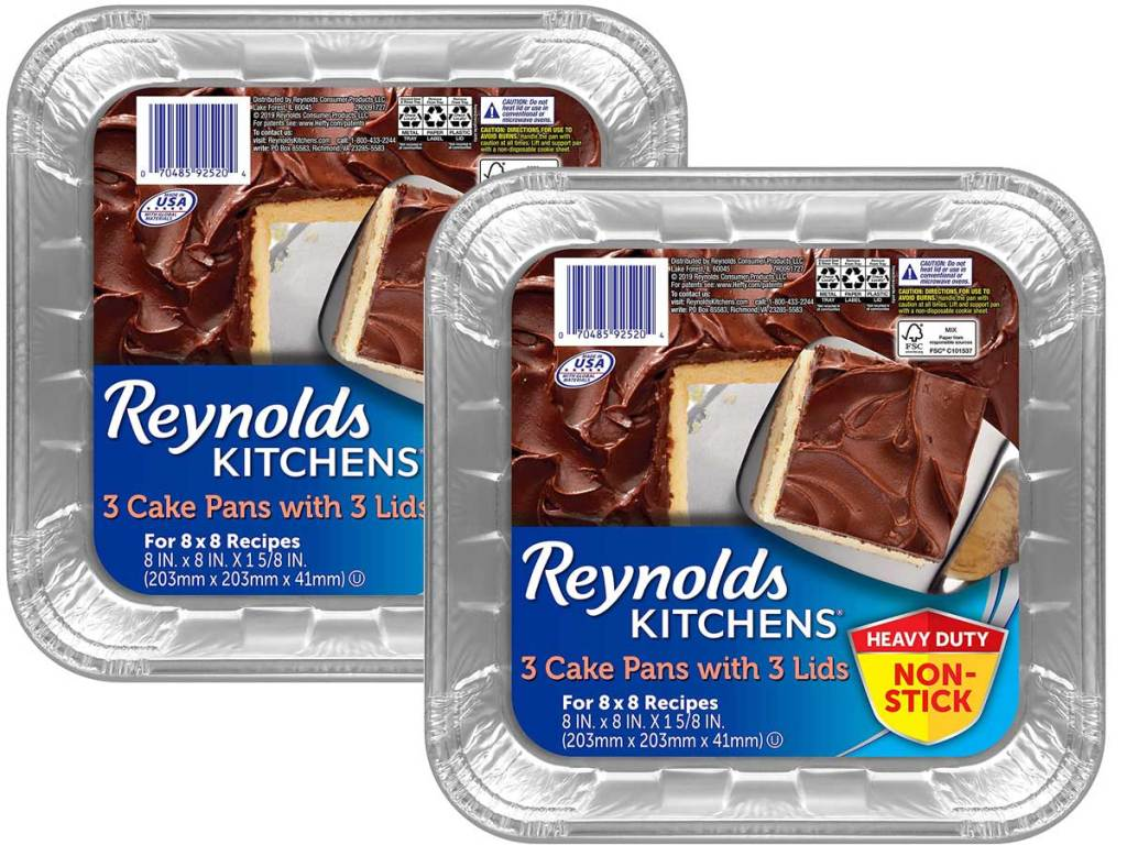 Reynolds Disposable Aluminum 8×8 Cake Pans with Lids