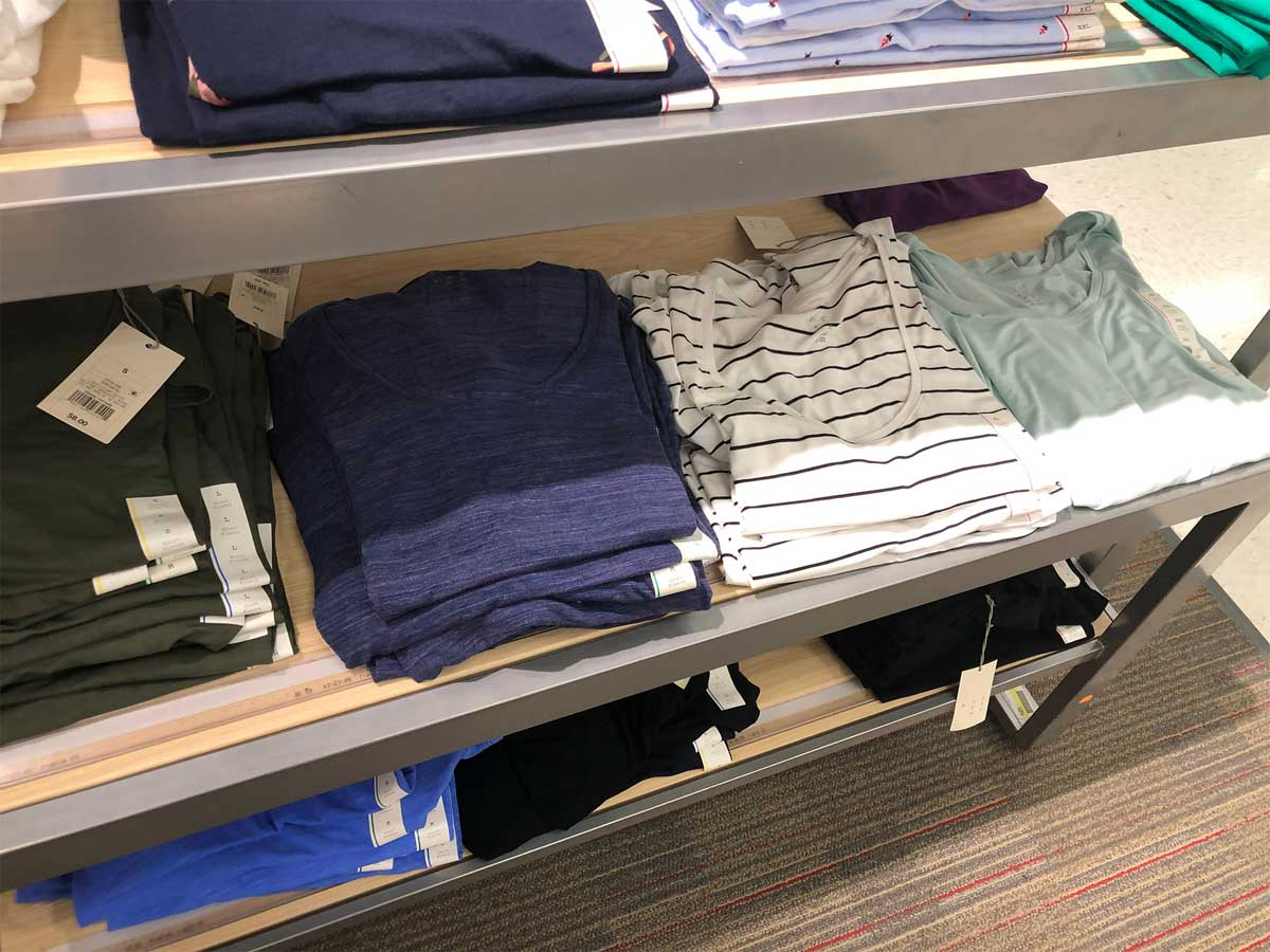 scoopneck knit tops on display in store