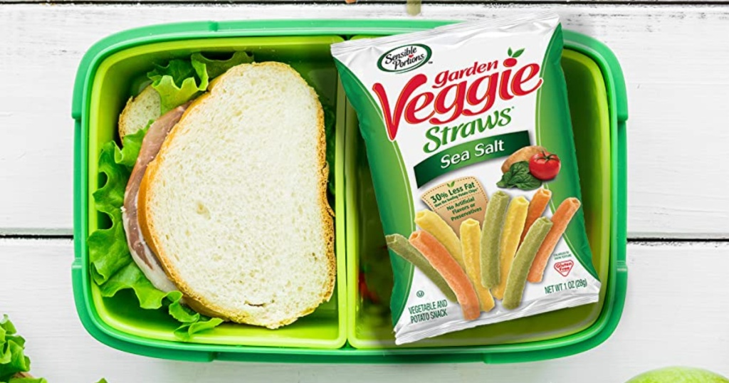 sensible portions veggie straws in lunchbox