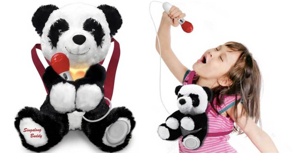 sing along plush panda with microphone
